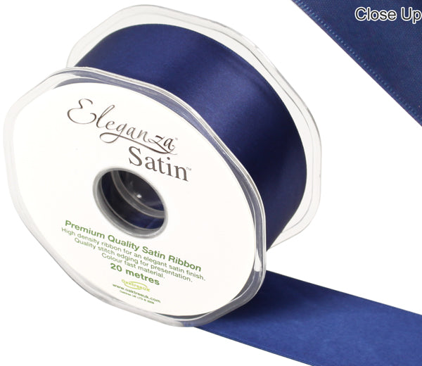 Eleganza Midnight / Navy Blue Satin Ribbon - Double Faced - 6 Widths - High Density