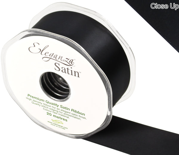 Eleganza Black Satin Ribbon - Double Faced - 6 Widths - High Density - Button Blue Crafts
