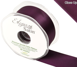 Eleganza Aubergine Satin Ribbon - Double Faced - 6 Widths - High Density - Button Blue Crafts
