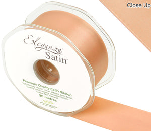 Eleganza Peach Satin Ribbon - Double Faced - 6 Widths - High Density - Button Blue Crafts