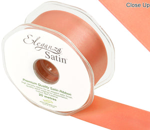 Eleganza Coral Satin Ribbon - Double Faced - 6 Widths - High Density - Button Blue Crafts