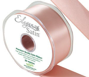 Eleganza Pale Rose Gold Satin Ribbon - Double Faced - 6 Widths - High Density - Button Blue Crafts