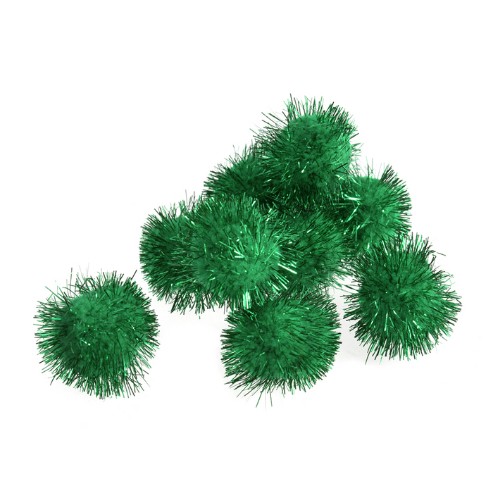 Trimits Green Tinsel Pom Poms - Medium 25mm