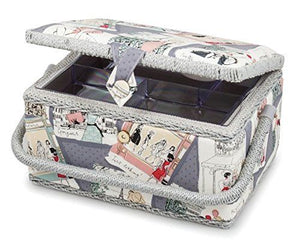 HobbyGift Paris Medium Rectangular Sewing Box - MRM287 - Button Blue Crafts