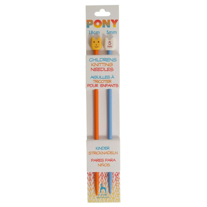 Pony Children's Plastic Knitting Pins - Single - Ended - 18cm x 5.0mm
