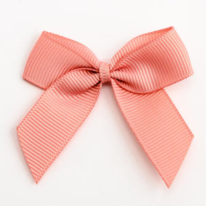 Rose Gold - Self Adhesive Pre Tied Bows - 5cm x 16mm Grosgrain Ribbon - Button Blue Crafts