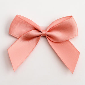 Rose Gold - Self Adhesive Pre Tied Bows - 5cm x 16mm Satin Ribbon - Button Blue Crafts