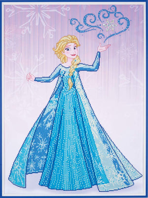 Ice Magic Elsa - Vervaco Disney Princess Frozen Diamond Rhinestone Painting Kit - Button Blue Crafts