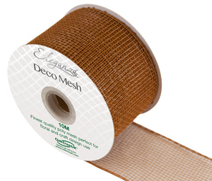 Eleganza Tan Brown Deco Mesh - 3 Widths - Button Blue Crafts
