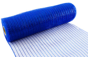 Eleganza Metallic Royal Blue Deco Mesh - 3 Widths - Button Blue Crafts