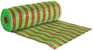 Eleganza Metallic Red / Green Stripe Deco Mesh - 3 Widths - Button Blue Crafts