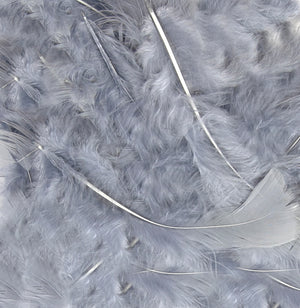 "Silver 1st Grade Marabou Feathers - Mixed Sizes 3"" - 8"" - Eleganza - Button Blue Crafts"