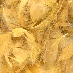 "Gold 1st Grade Marabou Feathers - Mixed Sizes 3"" - 8"" - Eleganza - Button Blue Crafts"