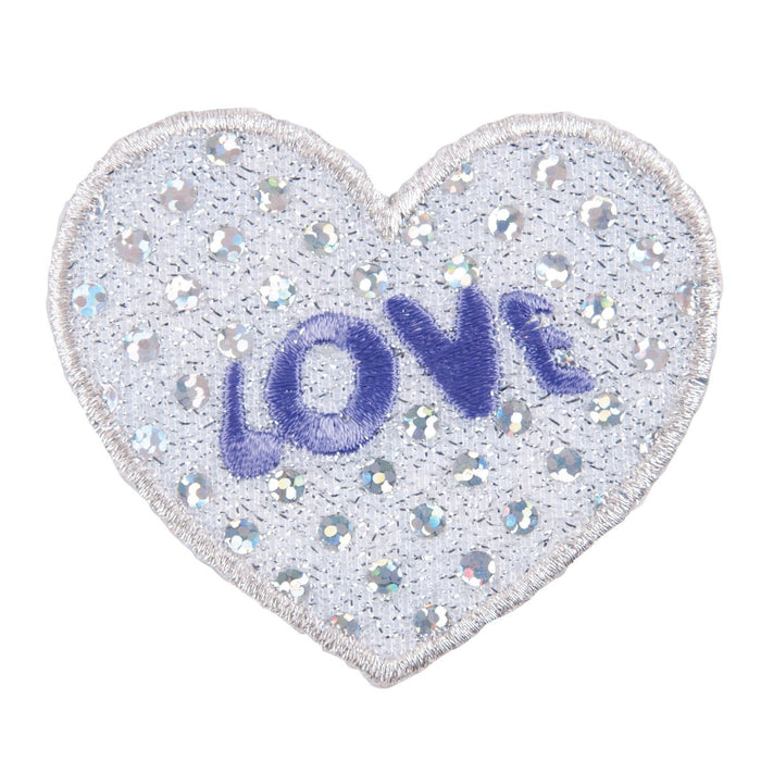 Sequin Love Heart Motif Iron Sew On Embroidered Applique - CFM2/053