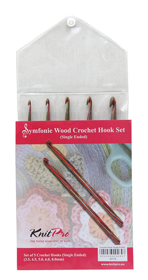 Knit Pro Symfonie - 5 Piece Crochet Hook Set - Single Ended - Button Blue Crafts