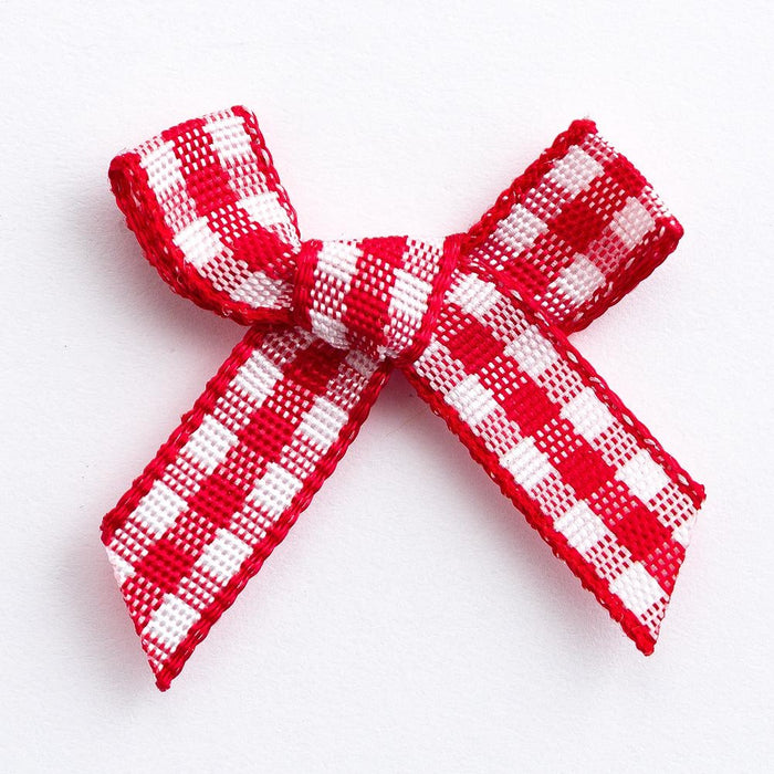 Red - Miniature Pre Tied Bows - 3cm x 6mm Gingham Ribbon