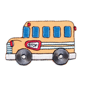 School Bus Motif Iron Sew On Embroidered Applique - CFM1/012 - Button Blue Crafts