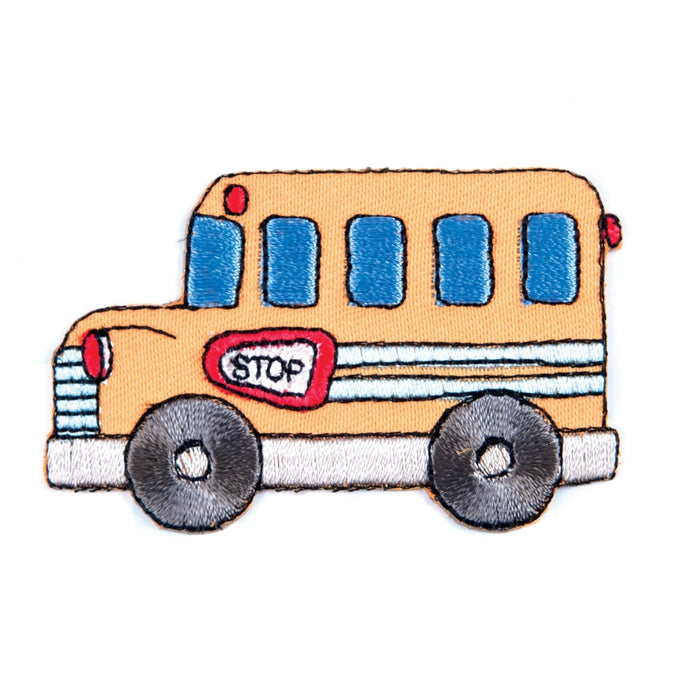 School Bus Motif Iron Sew On Embroidered Applique - CFM1/012