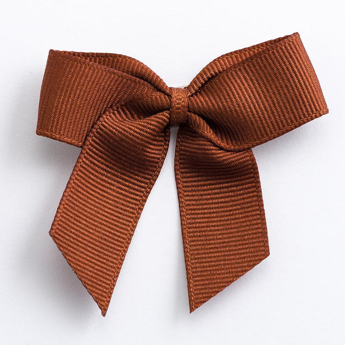 Brown - Self Adhesive Pre Tied Bows - 5cm x 16mm Grosgrain Ribbon