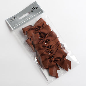 Brown - Self Adhesive Pre Tied Bows - 5cm x 16mm Grosgrain Ribbon - Button Blue Crafts