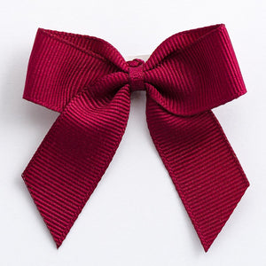 Burgundy - Self Adhesive Pre Tied Bows - 5cm x 16mm Grosgrain Ribbon - Button Blue Crafts