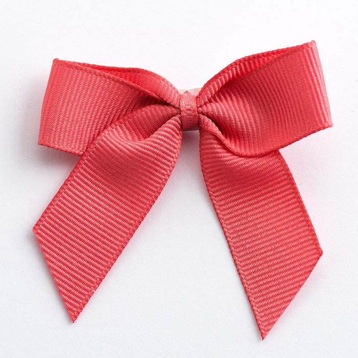 Coral - Self Adhesive Pre Tied Bows - 5cm x 16mm Grosgrain Ribbon