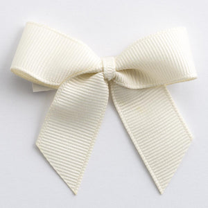 Cream - Self Adhesive Pre Tied Bows - 5cm x 16mm Grosgrain Ribbon - Button Blue Crafts