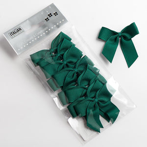 Dark Green - Self Adhesive Pre Tied Bows - 5cm x 16mm Grosgrain Ribbon - Button Blue Crafts