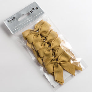 Gold - Self Adhesive Pre Tied Bows - 5cm x 16mm Grosgrain Ribbon - Button Blue Crafts