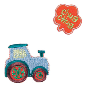 Chug Chug Tractor x 2 Motifs Iron or Sew On Applique - CFM2/037 - Button Blue Crafts