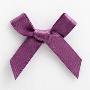 Amethyst Purple - Miniature Pre Tied Bows - 3cm x 6mm Satin Ribbon - Button Blue Crafts