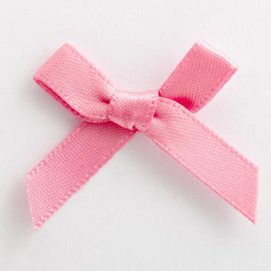 Antique Pink - Miniature Pre Tied Bows - 3cm x 6mm Satin Ribbon - Button Blue Crafts