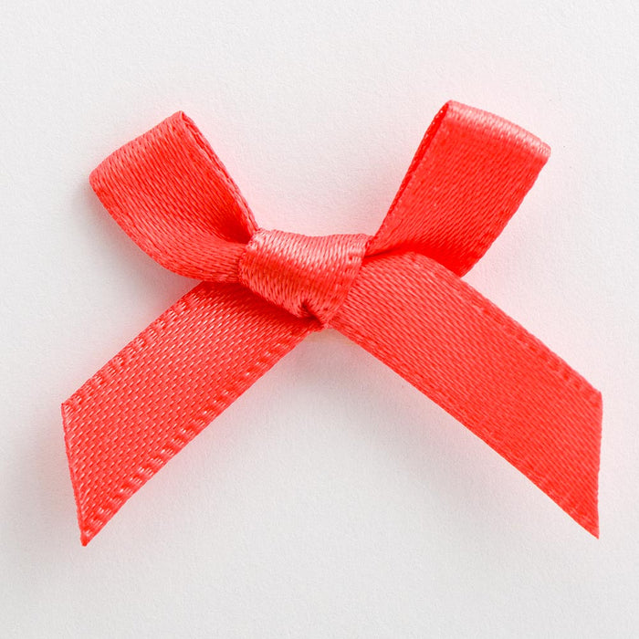 Coral - Miniature Pre Tied Bows - 3cm x 6mm Satin Ribbon
