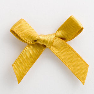 Gold - Miniature Pre Tied Bows - 3cm x 6mm Satin Ribbon - Button Blue Crafts