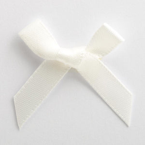 Ivory - Miniature Pre Tied Bows - 3cm x 6mm Satin Ribbon - Button Blue Crafts