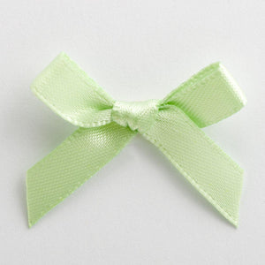 Light Green - Miniature Pre Tied Bows - 3cm x 6mm Satin Ribbon - Button Blue Crafts