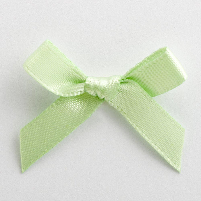 Light Green - Miniature Pre Tied Bows - 3cm x 6mm Satin Ribbon