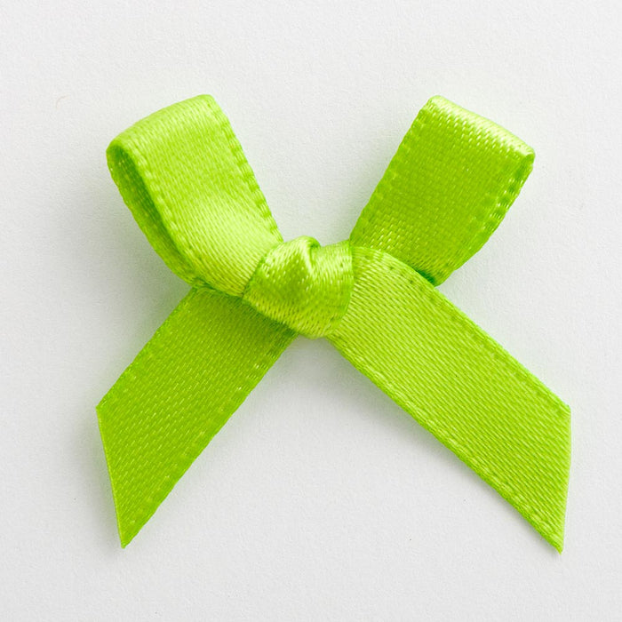Lime Green - Miniature Pre Tied Bows - 3cm x 6mm Satin Ribbon