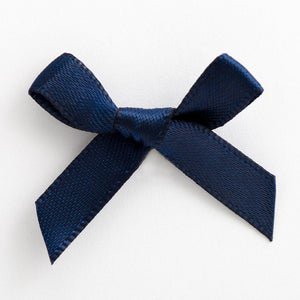 Navy Blue - Miniature Pre Tied Bows - 3cm x 6mm Satin Ribbon - Button Blue Crafts