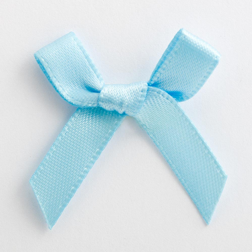 Pale Blue - Miniature Pre Tied Bows - 3cm x 6mm Satin Ribbon - Button Blue Crafts