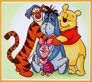 Winnie the Pooh - Vervaco Disney Large Diamond Rhinestone Painting Kit - Button Blue Crafts