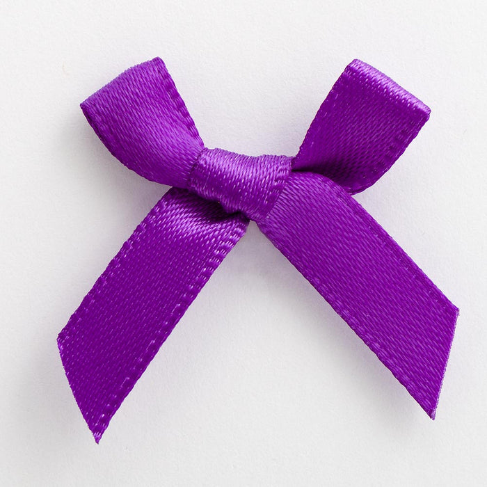 Purple - Miniature Pre Tied Bows - 3cm x 6mm Satin Ribbon