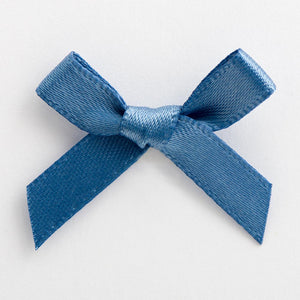 Smoke Blue - Miniature Pre Tied Bows - 3cm x 6mm Satin Ribbon - Button Blue Crafts