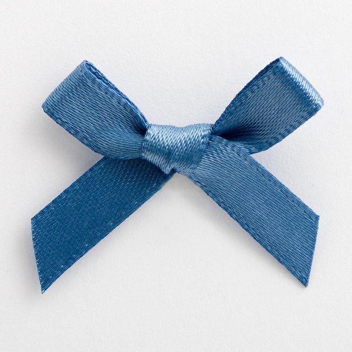 Smoke Blue - Miniature Pre Tied Bows - 3cm x 6mm Satin Ribbon