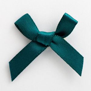 Teal - Miniature Pre Tied Bows - 3cm x 6mm Satin Ribbon