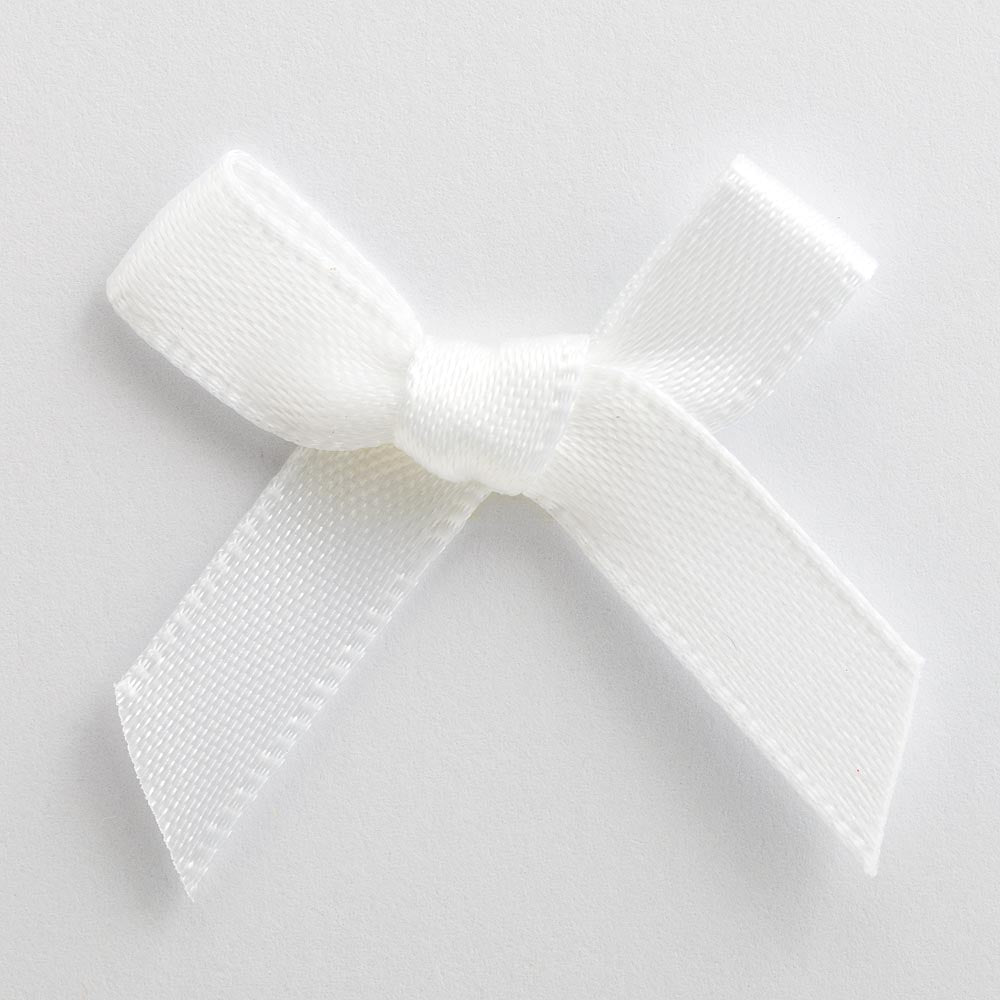 White - Miniature Pre Tied Bows - 3cm x 6mm Satin Ribbon - Button Blue Crafts