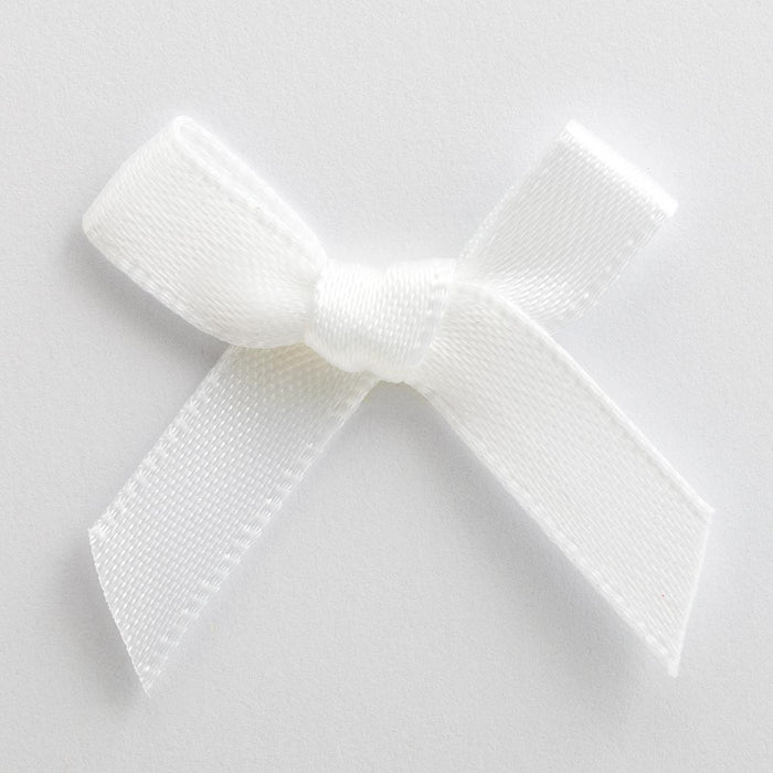 White - Miniature Pre Tied Bows - 3cm x 6mm Satin Ribbon