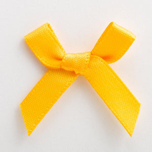 Yellow Gold - Miniature Pre Tied Bows - 3cm x 6mm Satin Ribbon