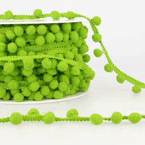 La Stephanoise Anise Green Pom Pom Trim - 10mm - Button Blue Crafts