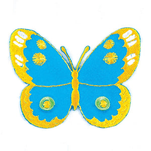 Blue Satin Butterfly Motif Iron Sew On Embroidered Applique - CFM2/022 - Button Blue Crafts